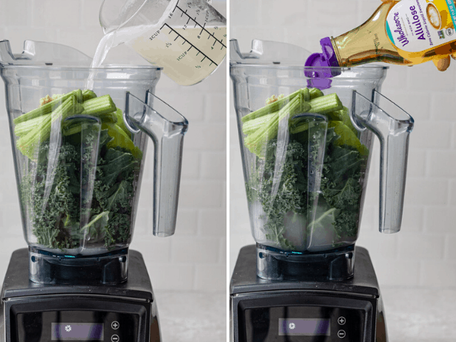 Process shots to show how to make the recipe in a high speed blender