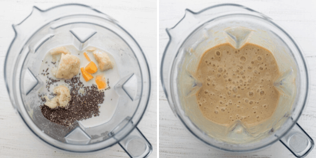 Process shots to show how to make the smoothie in the blender, before and after blending
