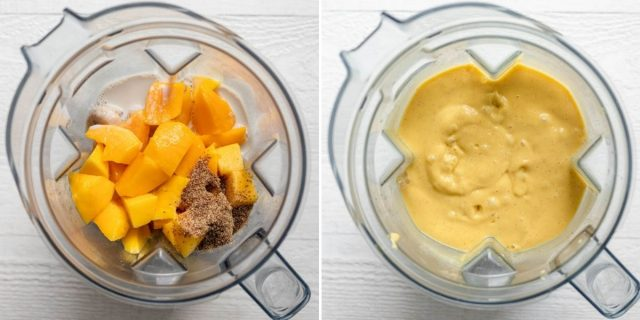 Process shots to show the ingredients in the blender before and after blending