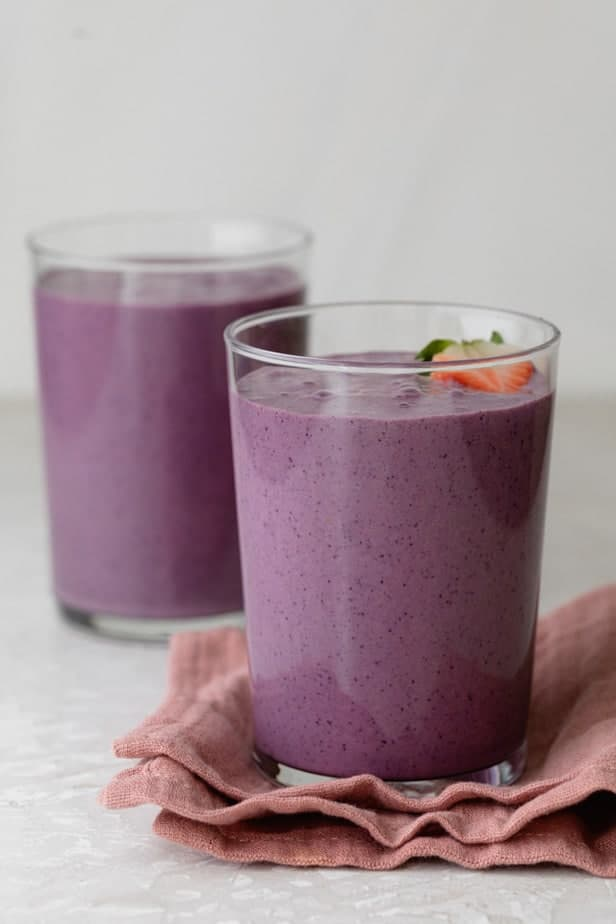 Two cups of the mixed berry smoothie