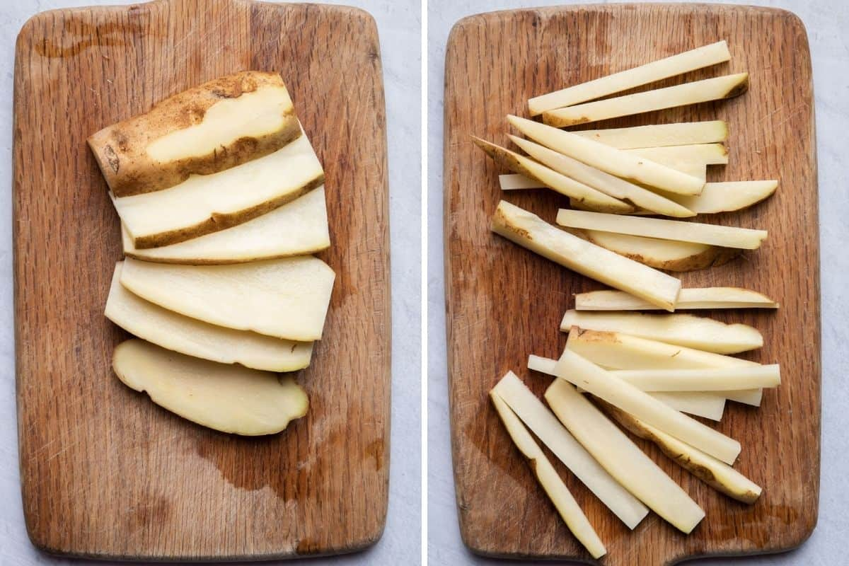 2 image collage to show the potatoes sliced and then cut into sticks