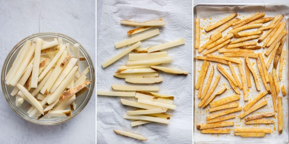 3 image collage to show the potatoes submerged in water, potatoes drying on paper towel and then seasoned on a baking dish lined with parchment paper