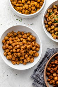 Crunchy snack alternative - garbanzo beans roasted in the oven