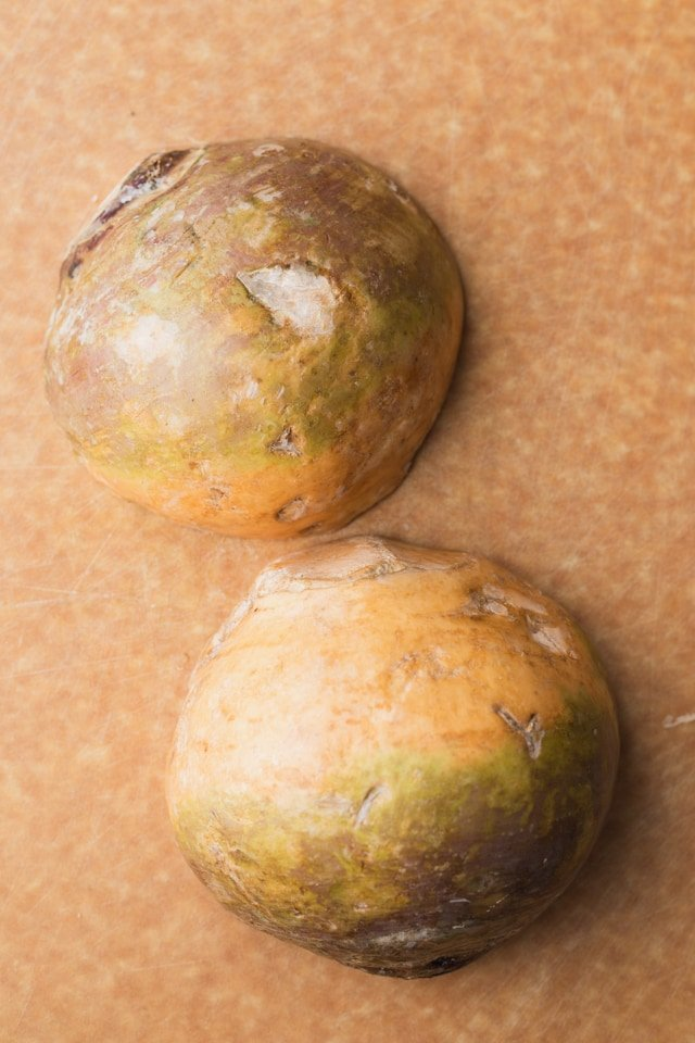 Rutabaga cut in half