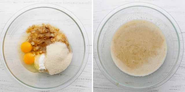 Process shots showing the wet ingredients before and after mixing