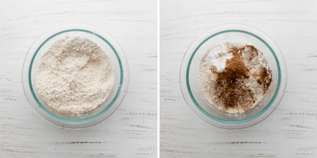 Process shots showing the dry ingredients before and after mixing