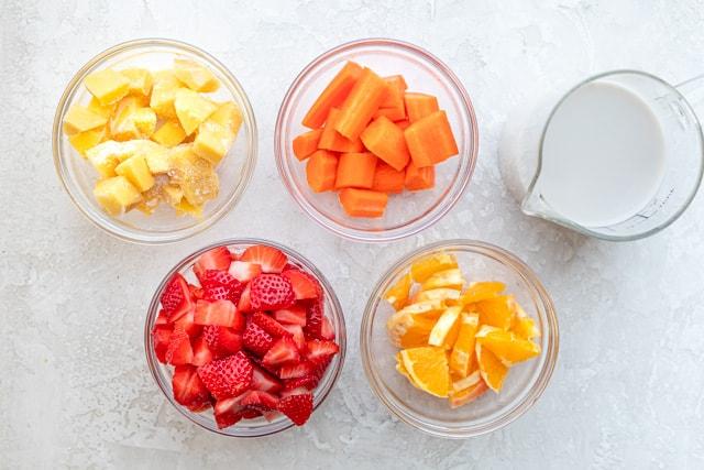 top down shot of ingredients in bowls