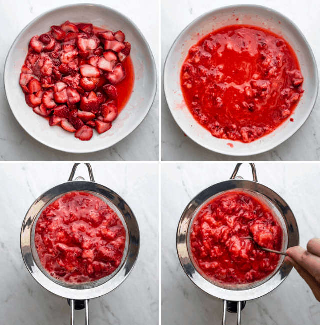 Process shots to show how to make the strawberry sauce from frozen strawberries