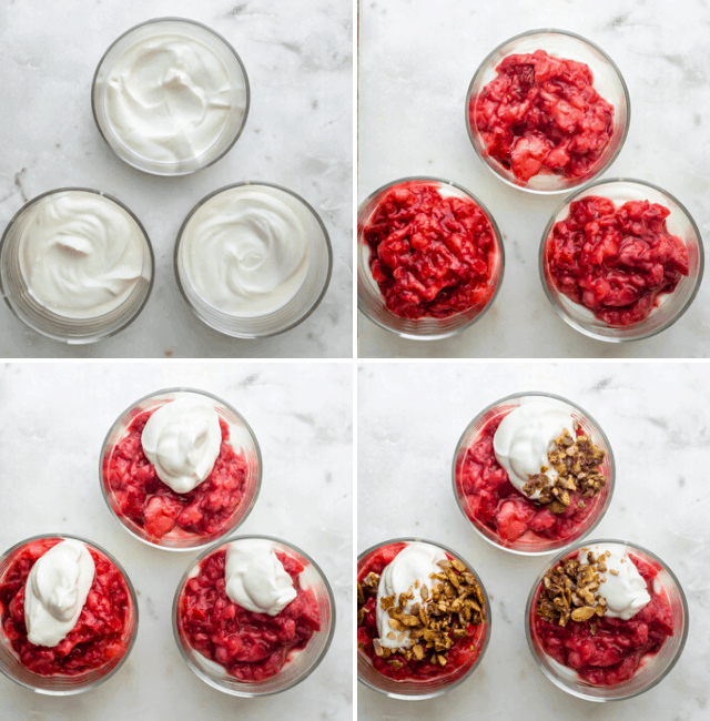 Process shots to show how to layer the parfait with the ingredients