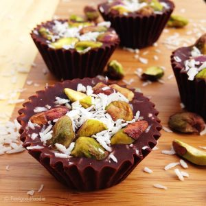 Make your own healthy chocolate treat at home with this Vegan Chocolate Pistachio Cups recipe - it only needs a few simple ingredients & no baking required