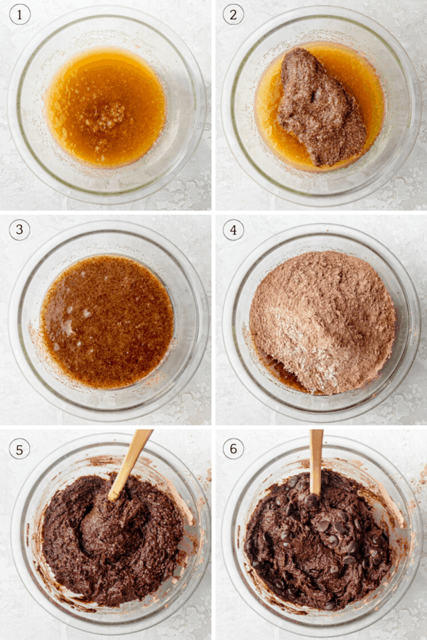 Process shots collage showing how to mix the wet ingredients and then adding the dry ingredients