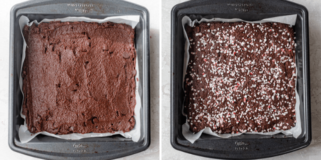 Before and after baking the batter