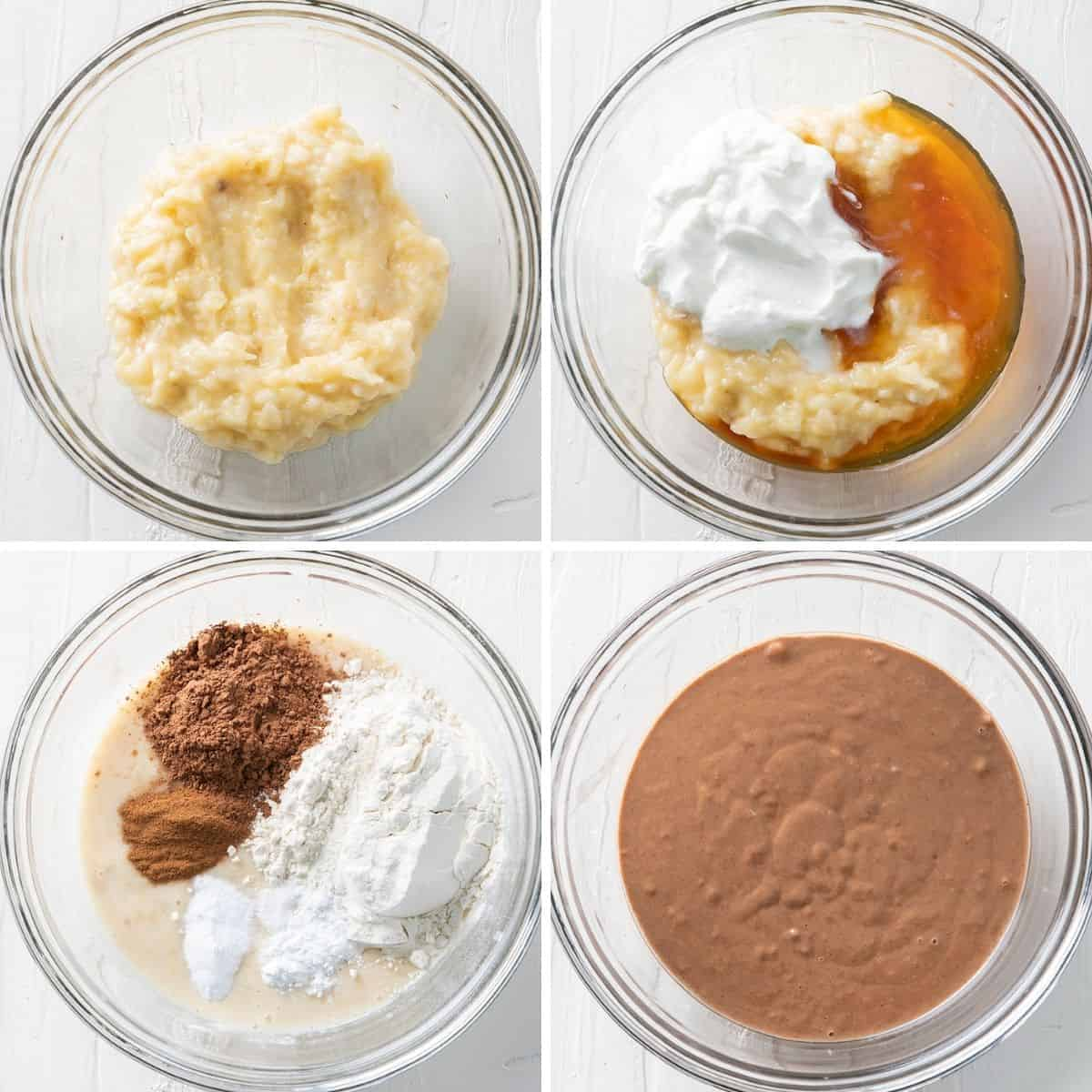 4 image collage to show how to make the batter for the banana bread