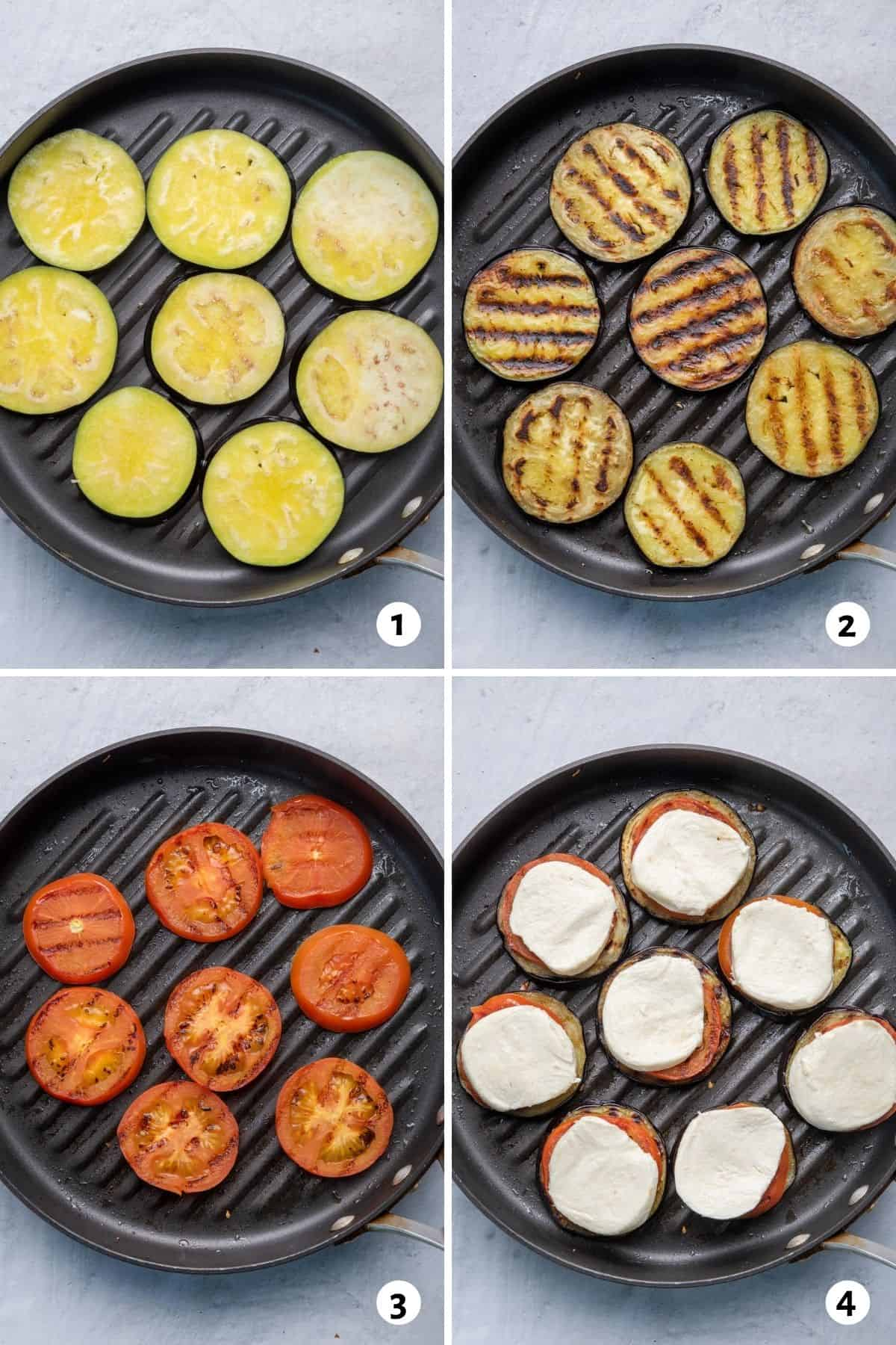4 image collage to show how to make the recipe in a grill pan