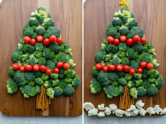 Process shots showing how to create the easy Christmas vegetable tree