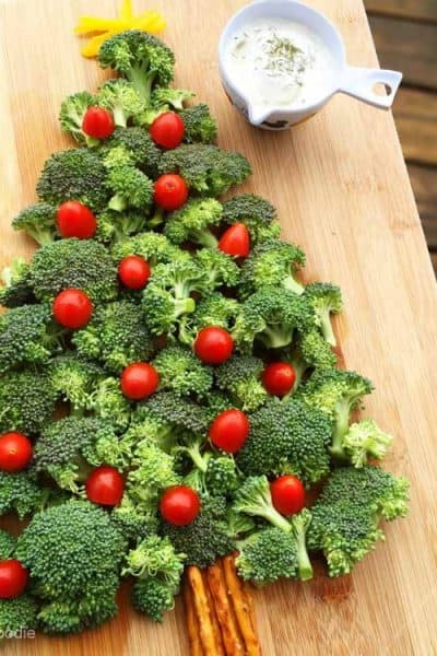 this christmas tree vegetable platter with dip is an easy fun and festive appetizer or