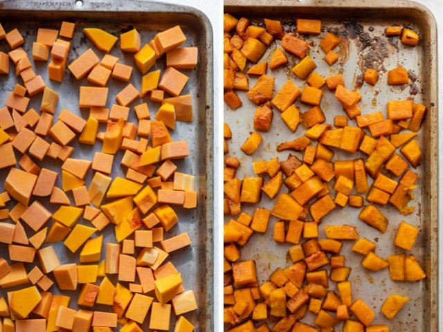 Collage of the butternut squash before and after roasting