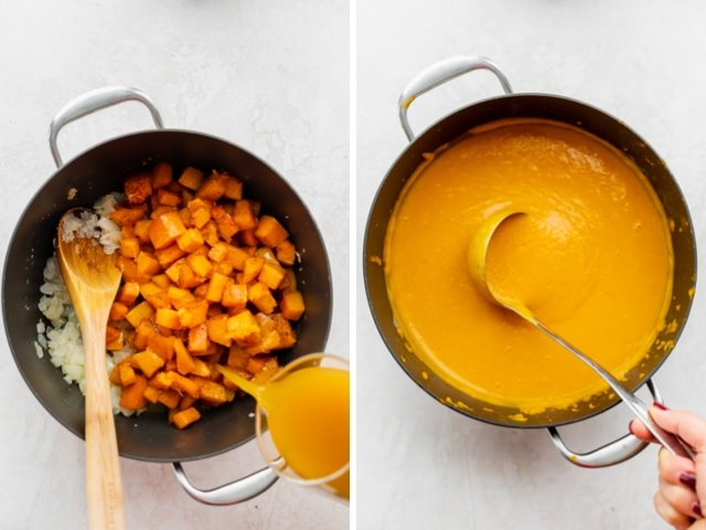 Collage of two images showing the pot of soup with the vegetable broth before and after blending