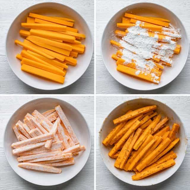 4 image collage to show the fries in a bowl, then getting tossed with corn starch, then seasoned