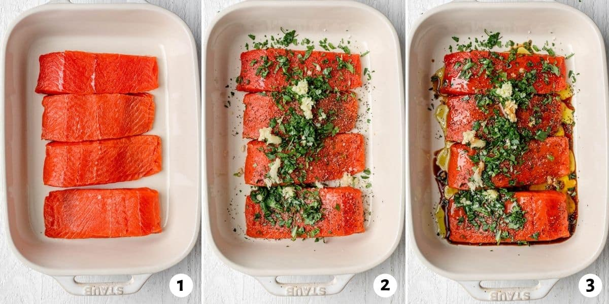 3 image collage to show the salmon uncooked, then topped with the seasoning, then with the added olive oil and soy sauce