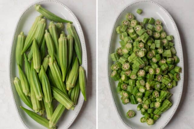 2 image collage showing the fresh okra on a long plate before an after cutting