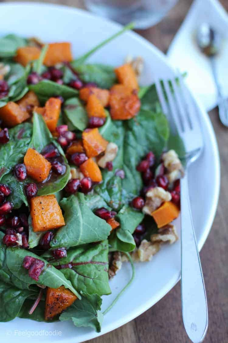 Roasted Butternut Squash Pomegranate Spinach Salad