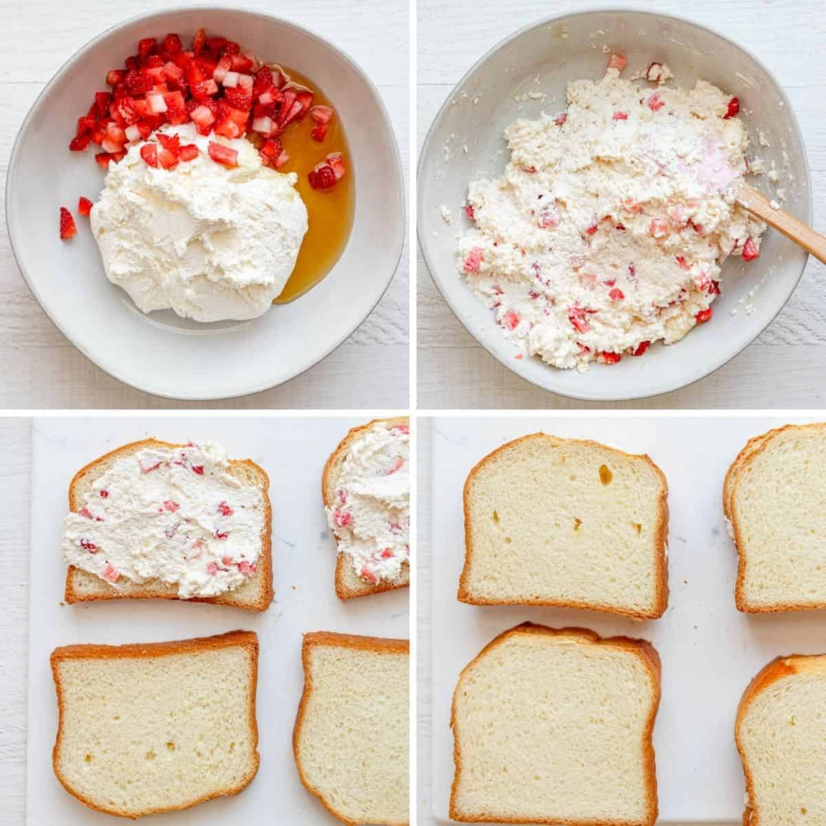 4 image collage to show how to mix the cream cheese and strawberry filling and then stuff the french toast