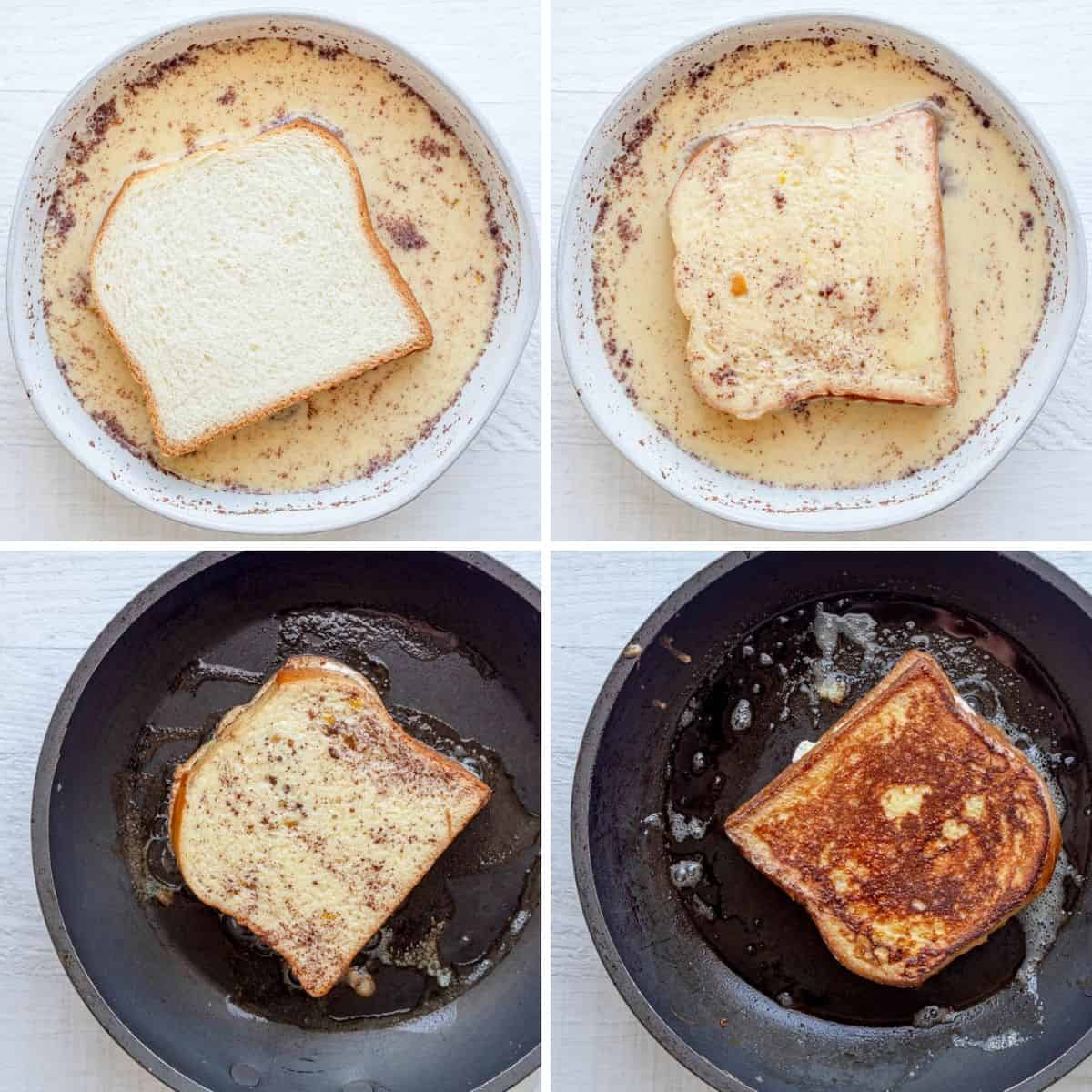4 image collage to show how to add the french toast to the batter then cook it