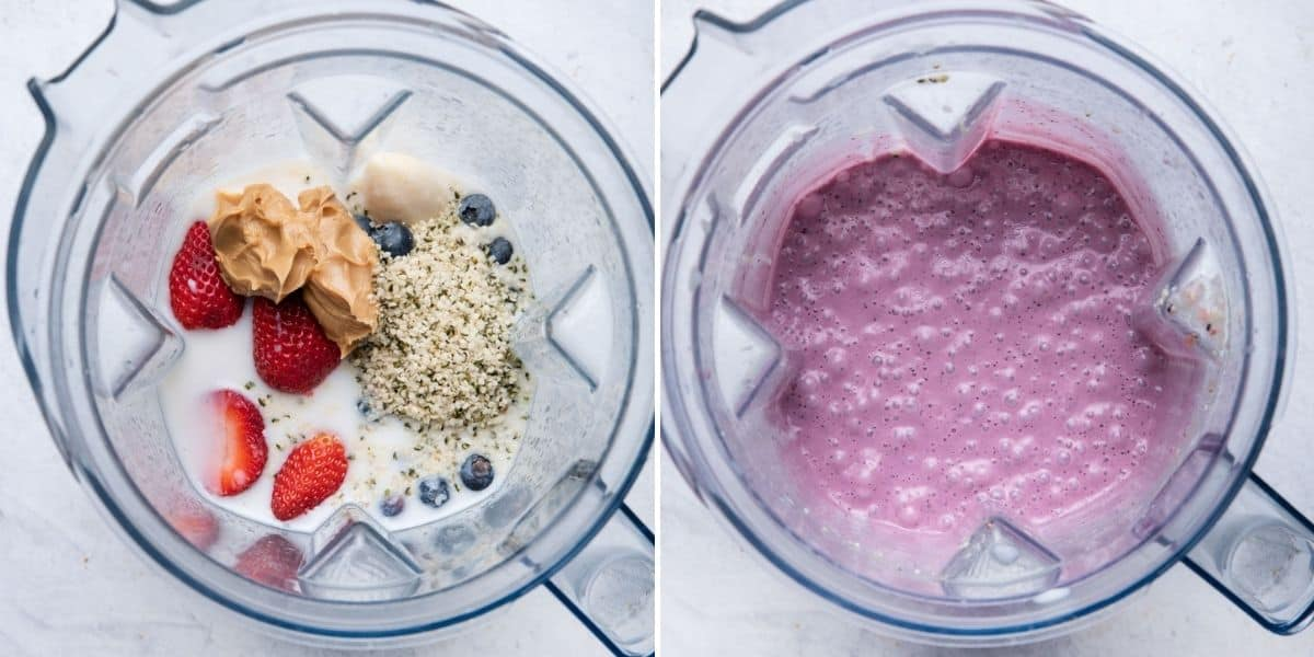 2 image collage to show the ingredients in a blender before and after blending
