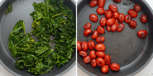 Cooking the kale and tomatoes in a skillet