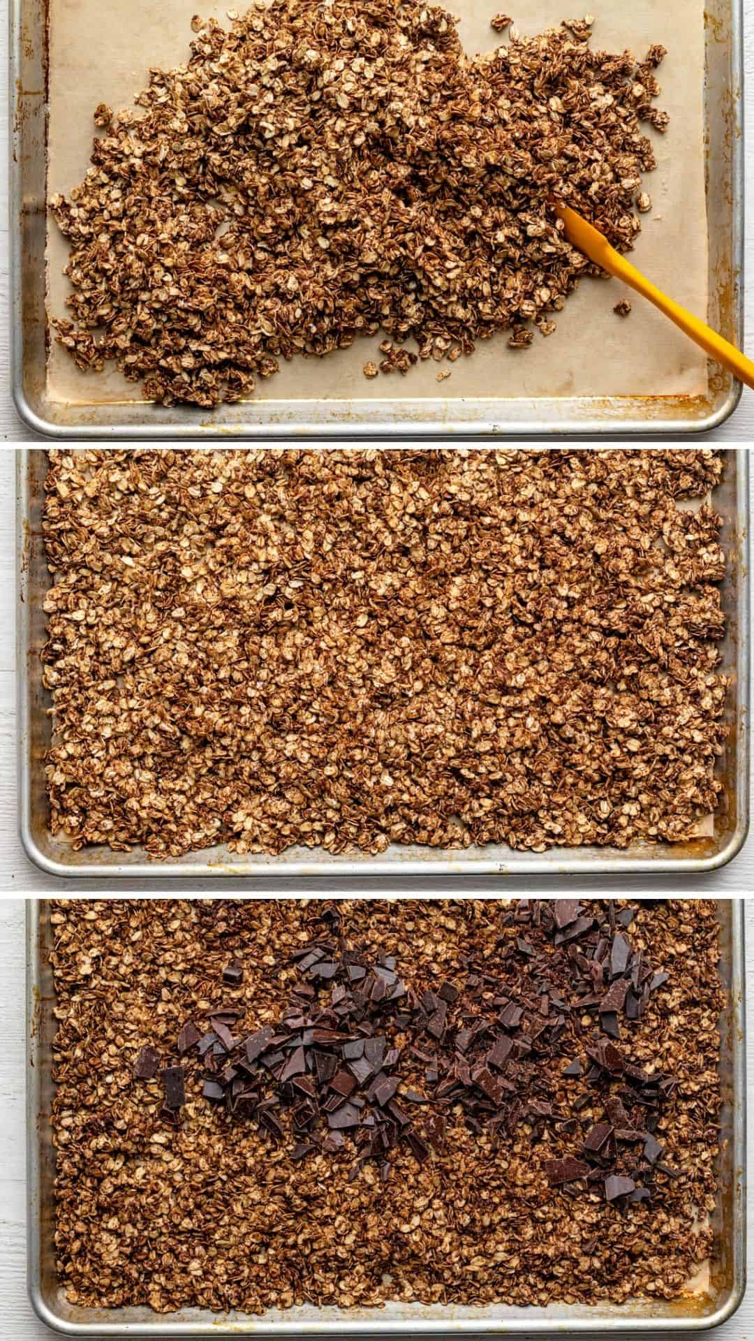 3 image collage to show the steps for cooking the granola