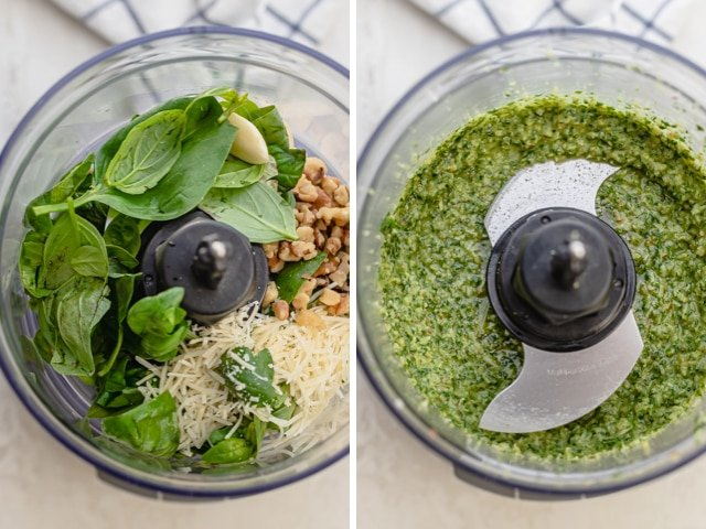 Collage showing how to make walnut pesto before and after blending in food processor