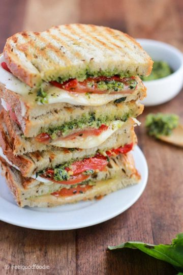 Grilled Mozzarella Sandwich with Walnut Pesto