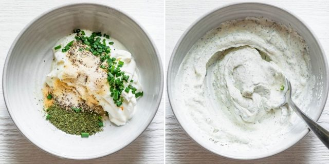 Before and after of the ranch ingredients getting mixed