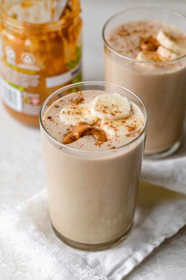 Peanut butter smoothies in a glass