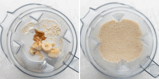 Process shots to show all the ingredients in the blender before and after blending