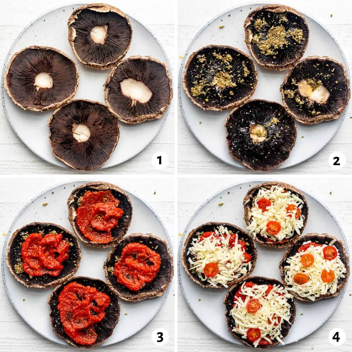 4 image collage to show how to build the pizzas