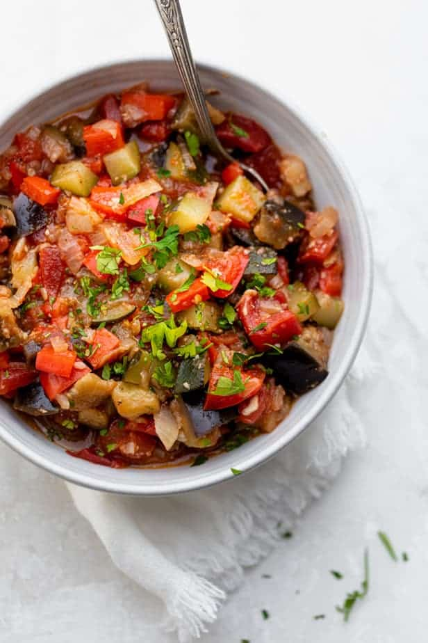 Final ratatouille recipe in a bowl with parsley