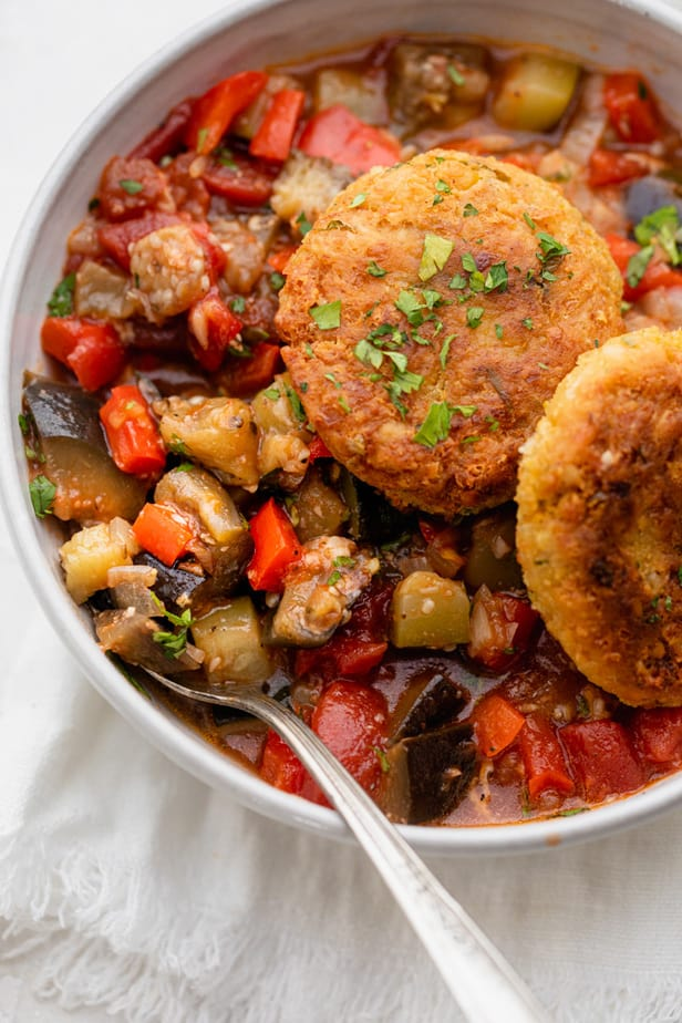 Ratatouille Recipe with chickpea fritters