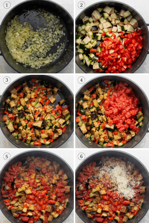 Step by step shot of how to make the recipe in one pot