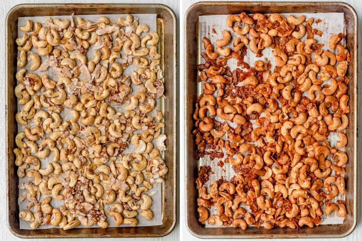 2 image collage showing the cashews with coconut on a baking sheet before and after baking