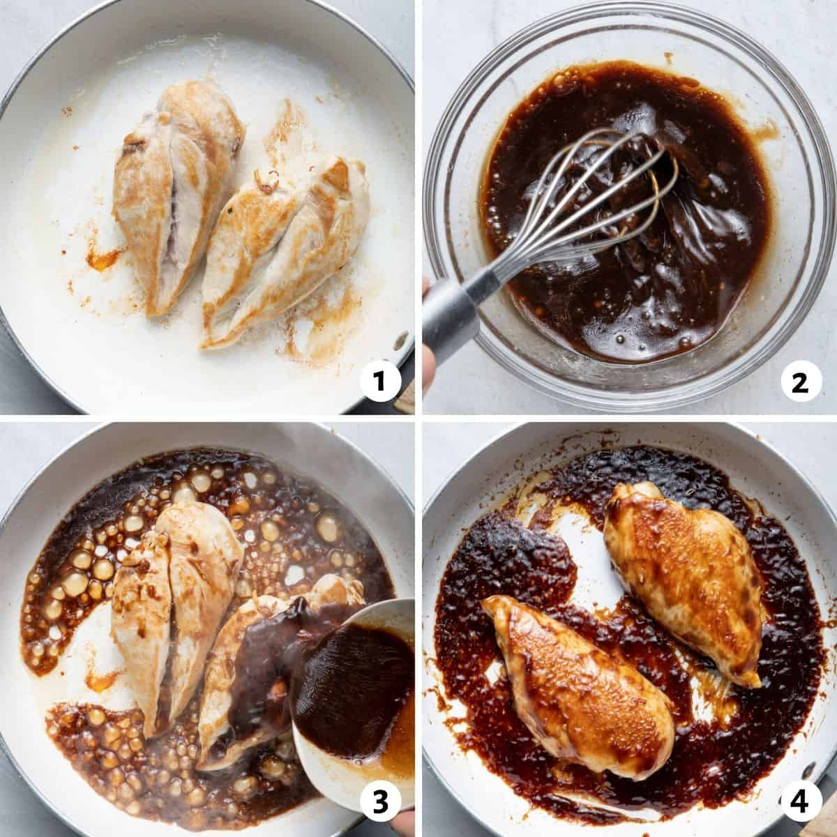 4 image collage to show how to make the sauce, cook the chicken and put it together