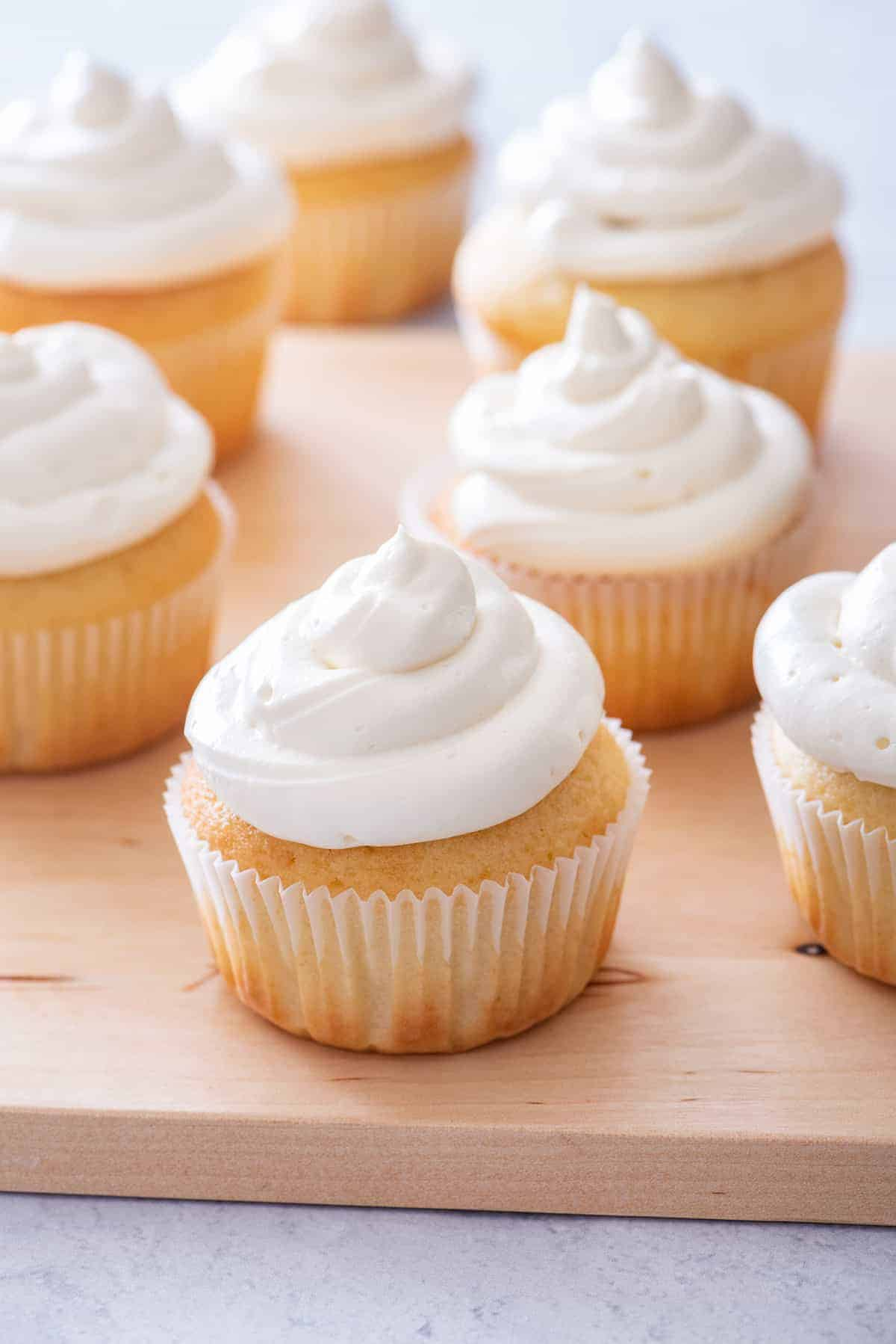 Homemade vanilla cupcakes with cream cheese frosting