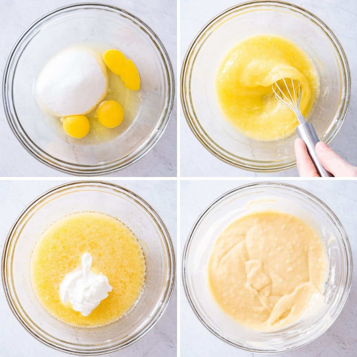 4 image collage to show how to make the cupcake batter