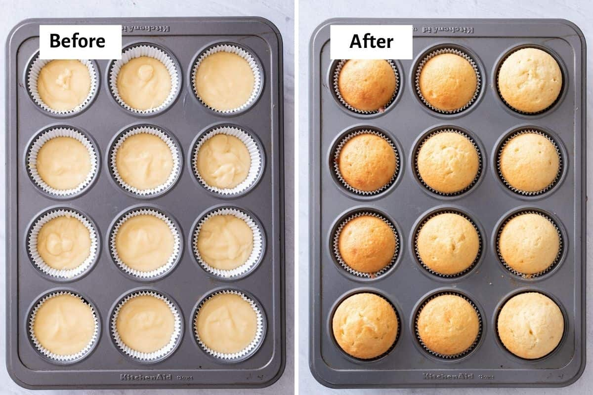 Cupcake batter in a muffin tin before and after baking