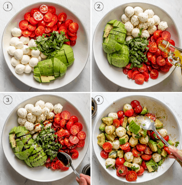 Process shots to show how to throw together the salad