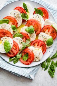 caprese salad on a serving platter