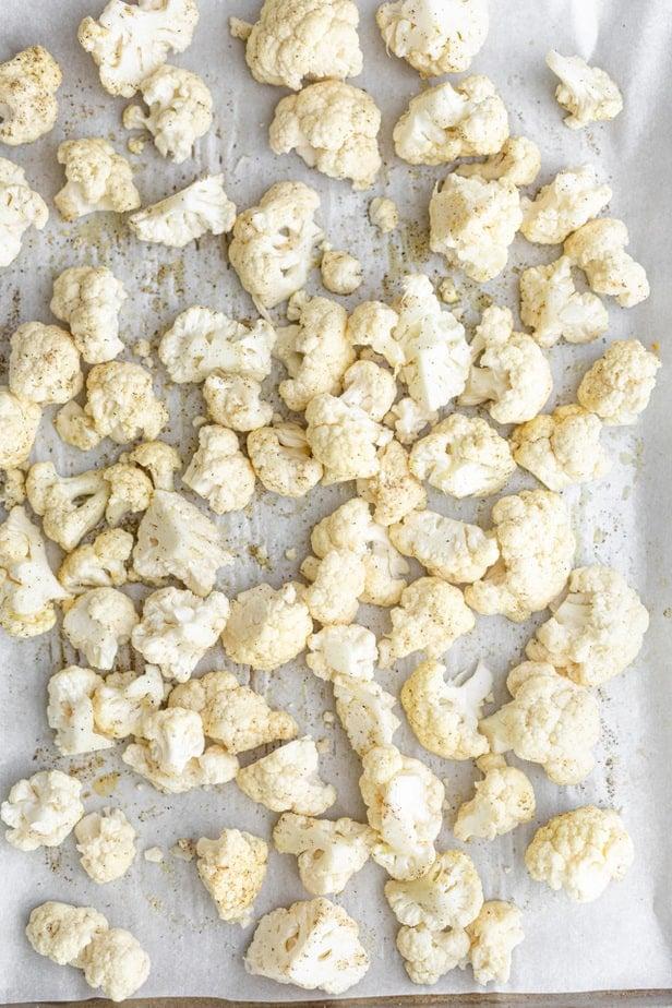 top down shot of cauliflower florets