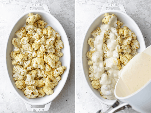 collage of cauliflower in a dish with cheese and cream poured onto it