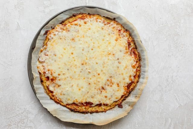 Cauliflower pizza crust when it comes out of the oven